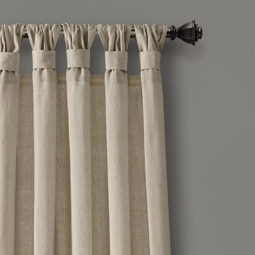 Burlap Knotted Tab Top Window Curtain Panels Dark Linen Pair 45X84 Set