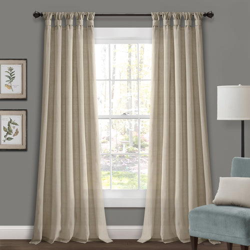 Burlap Knotted Tab Top Window Curtain Panels Dark Linen Pair 45X95 Set