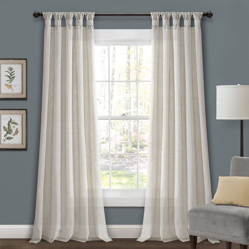 Burlap Knotted Tab Top Window Curtain Panels Light Linen Pair 45X95 Set