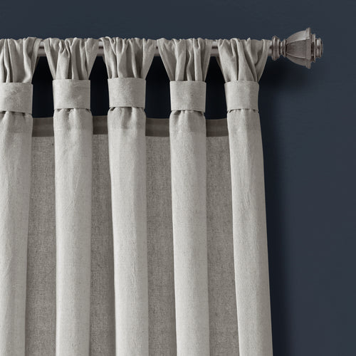 Burlap Knotted Tab Top Window Curtain Panels Light Gray Pair 45X95 Set