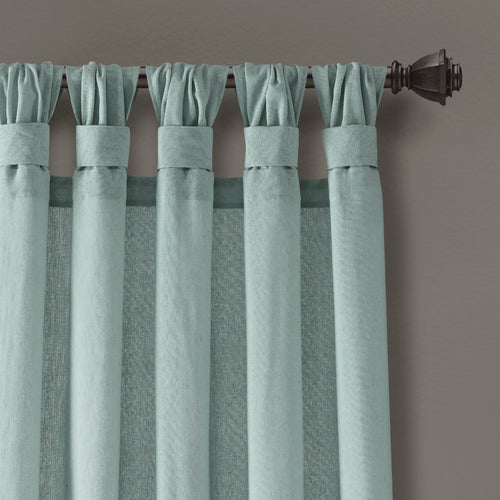 Burlap Knotted Tab Top Window Curtain Panels Blue Pair 45X84 Set