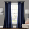 Burlap Knotted Tab Top Window Curtain Panels Navy Pair 45X84 Set