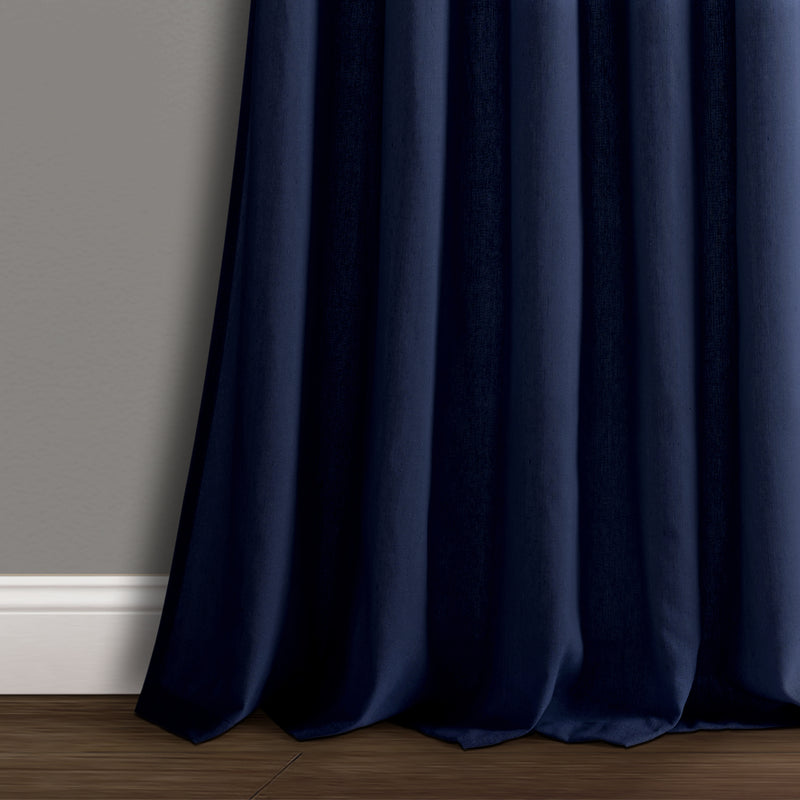 Burlap Knotted Tab Top Window Curtain Panels Navy Pair 45X95 Set