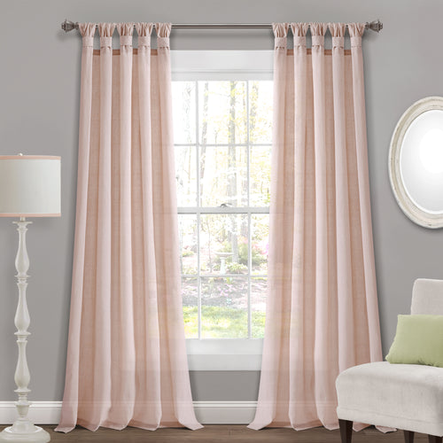 Burlap Knotted Tab Top Window Curtain Panels Blush Pair 45X84 Set