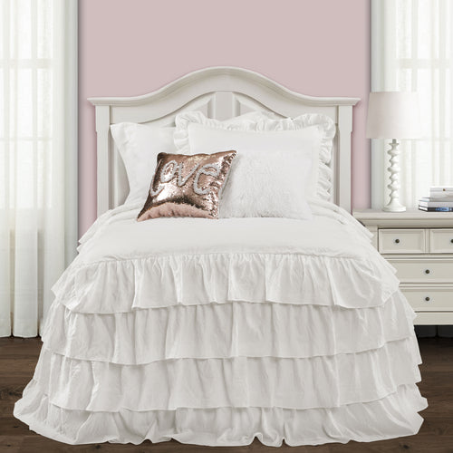 Lush Decor Allison Ruffle Skirt Bedspread White 2Pc Set Twin Xl