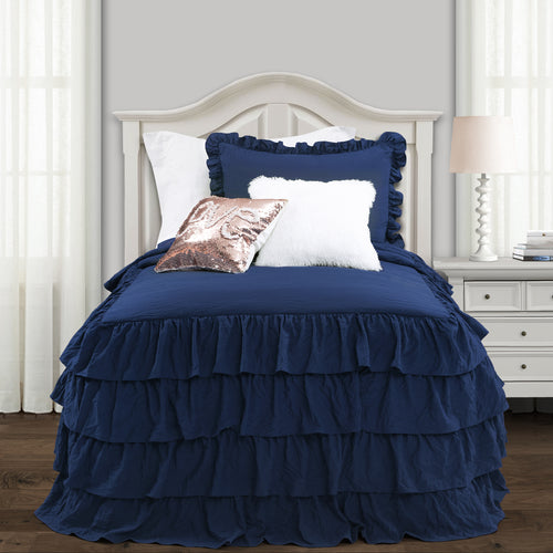 Lush Decor Allison Ruffle Skirt Bedspread Navy 2Pc Set Twin Xl