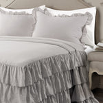 Allison Ruffle Skirt Bedspread Light Gray 3Pc Set Full