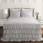 Allison Ruffle Skirt Bedspread Light Gray 3Pc Set King