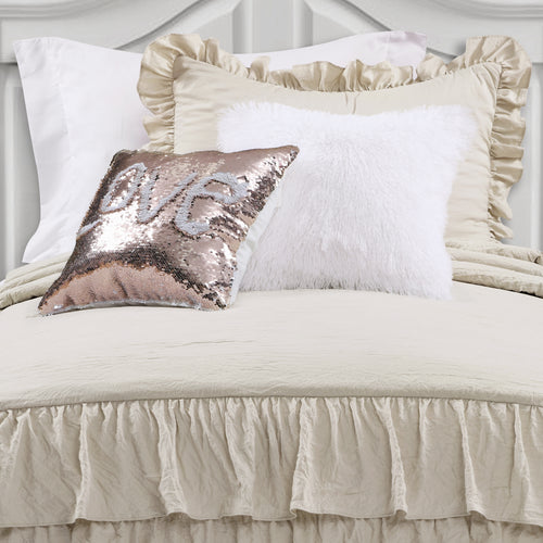 Allison Ruffle Skirt Bedspread Neutral 2Pc Set Twin Xl