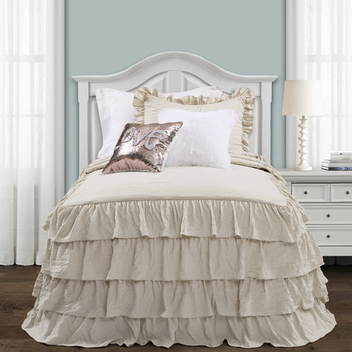 Lush Decor Allison Ruffle Skirt Bedspread Neutral 2Pc Set Twin Xl