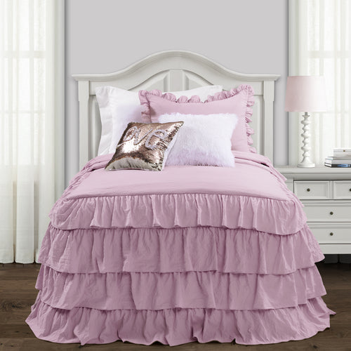 Lush Decor Allison Ruffle Skirt Bedspread Purple 2Pc Set Twin Xl