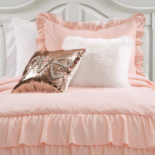 Allison Ruffle Skirt Bedspread Blush 2Pc Set Twin Xl
