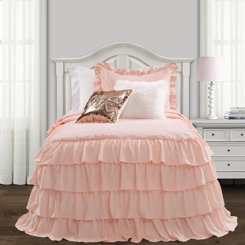 Lush Decor Allison Ruffle Skirt Bedspread Blush 2Pc Set Twin Xl
