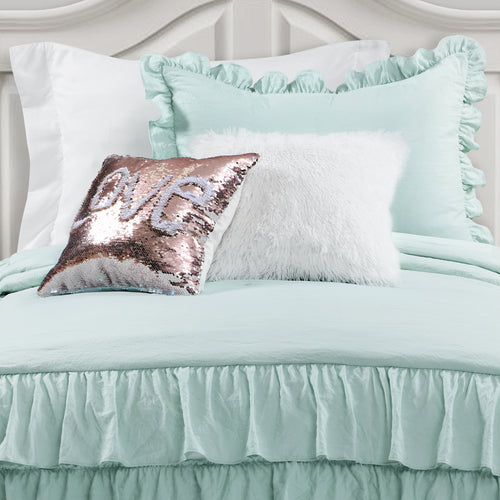 Allison Ruffle Skirt Bedspread Aqua 2Pc Set Twin Xl