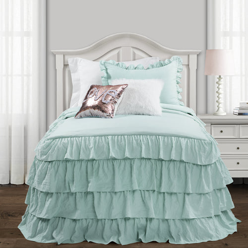Lush Decor Allison Ruffle Skirt Bedspread Aqua 2Pc Set Twin Xl