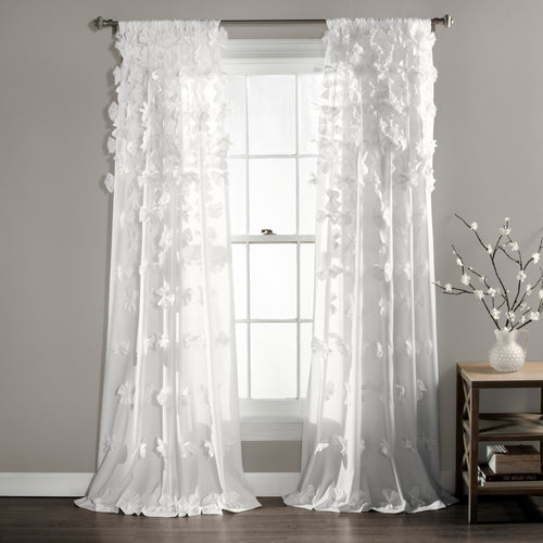 Riley Window Curtain Panel White Single 54X108