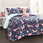 Pixie Fox Quilt Navy/Pink 4Pc Set Full/Queen