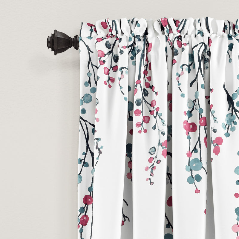 Mirabelle Watercolor Floral Room Darkening Window Curtain Panels Blue/Coral 52x84+2 Set