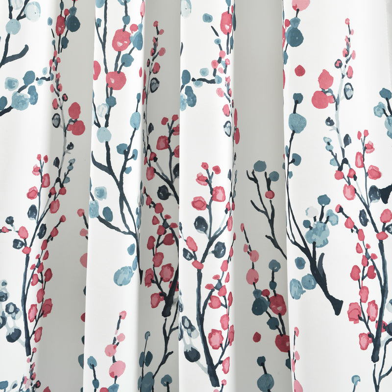 Mirabelle Watercolor Floral Room Darkening Window Curtain Panels Blue/Coral 52x95+2 Set