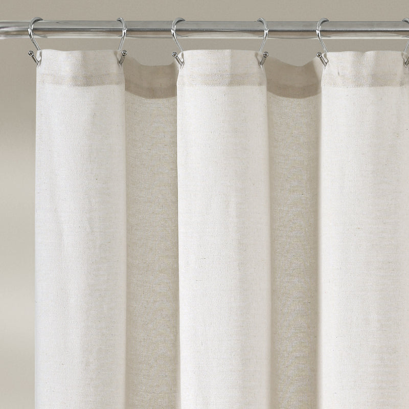 Linen Button Shower Curtain Black/White Single 72X72