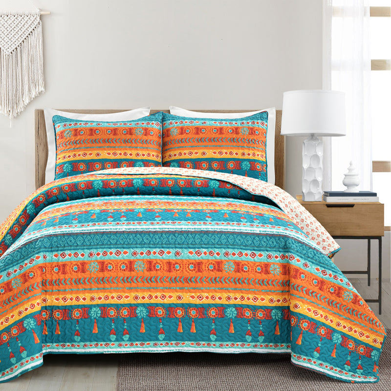 Boho Watercolor Border Quilt Turquoise/Multi 3Pc Set Full/Queen
