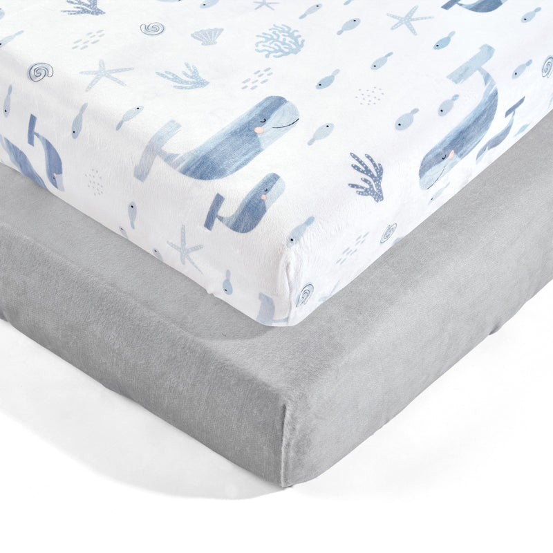 Seaside Micro Mink Fitted Crib Sheet Blue 2Pk 28x52x9