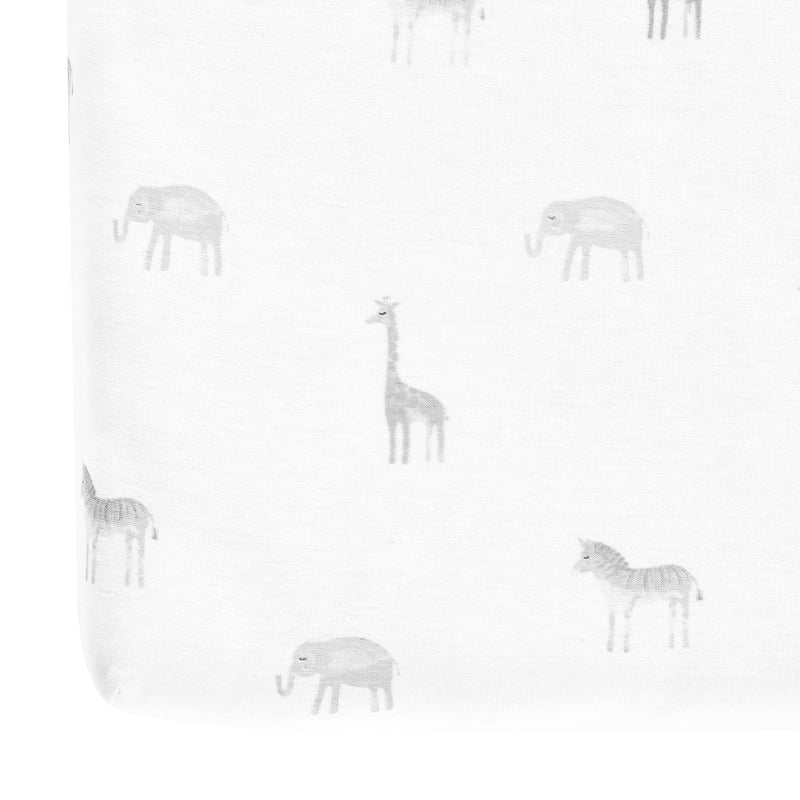 Jungle Adventure Organic Cotton Fitted Crib Sheet Gray 2Pk 28x52x9