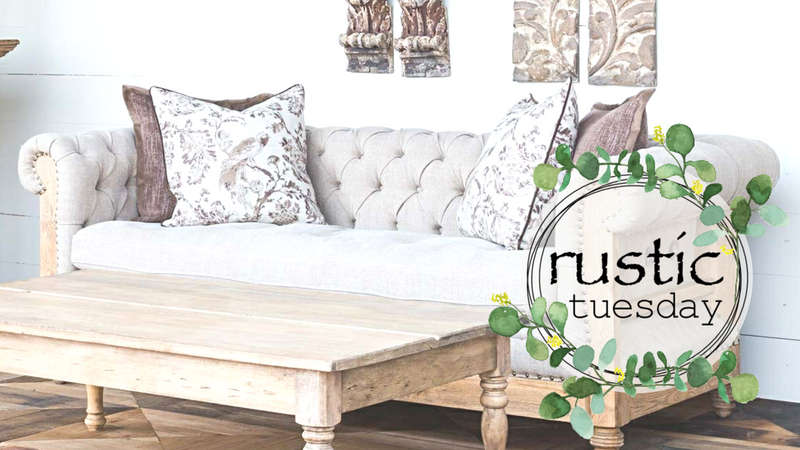 deconstructed sofa with rustic wood coffee table