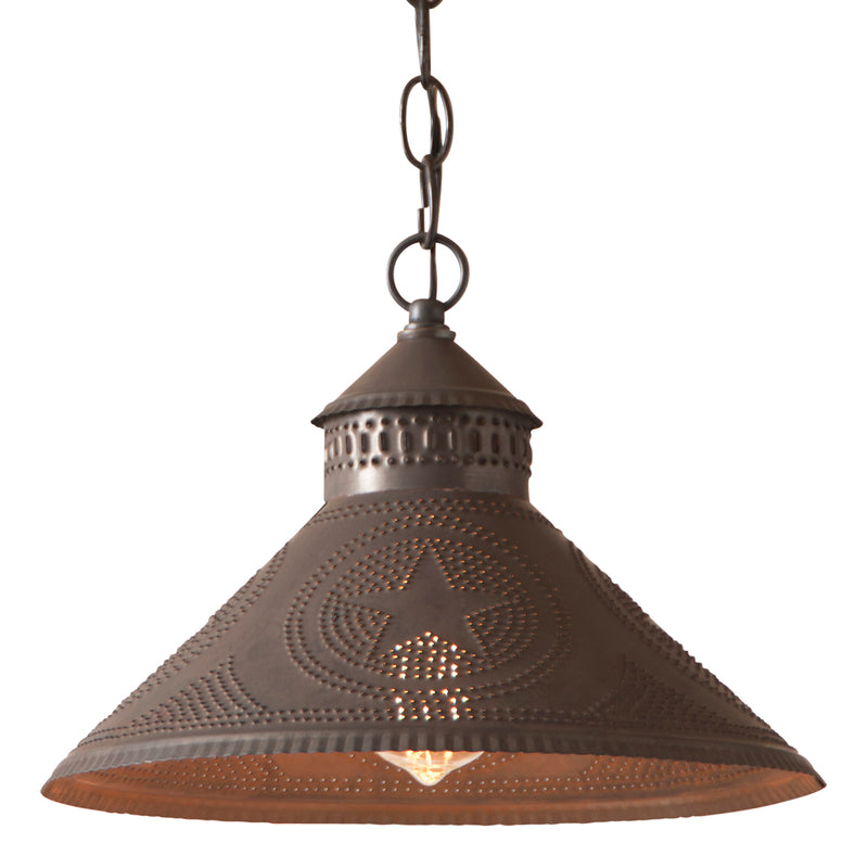 Stockbridge Shade Light with Star in Blackened Tin