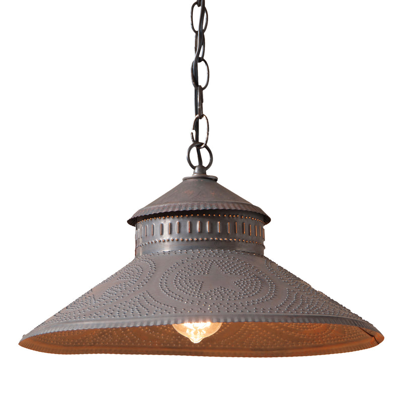 Shopkeeper Shade Light with Reg Star in Blackened Tin