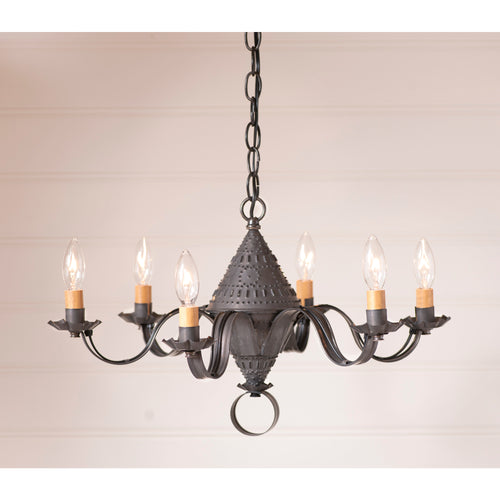 "<img src="" 962BT.jpg "" alt="" Small Concord Chandelier in Blackened Tin "">"