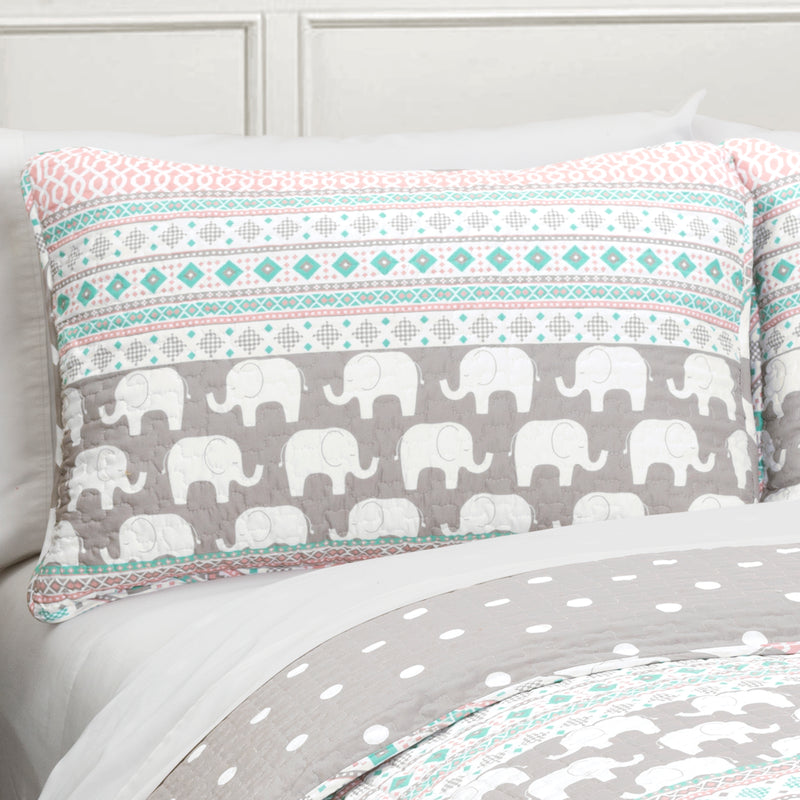 Elephant Stripe Quilt Turquoise/Pink 4Pc Set Twin