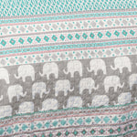 Elephant Stripe Quilt Turquoise/Pink 5Pc Set Full/Queen