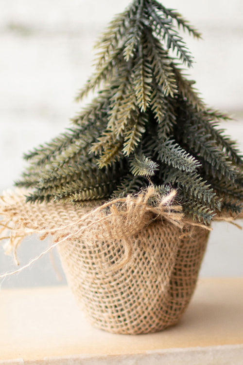 Box of 4 Sweet Little Burlap Wrapped Mini Christmas Trees