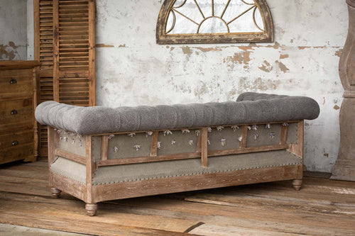 Deconstructed Chesterfield Style Sofa in Charcoal Gray