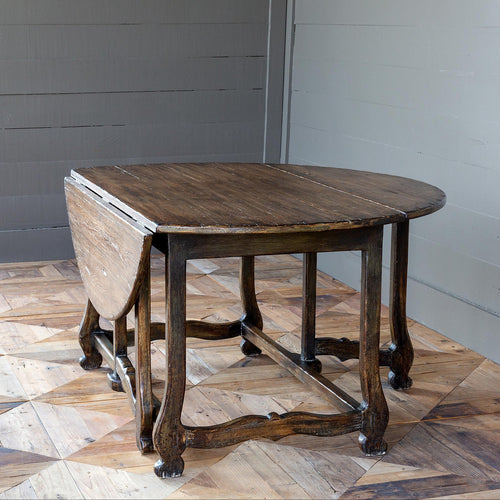 Rustic, Round, Gate Leg Table