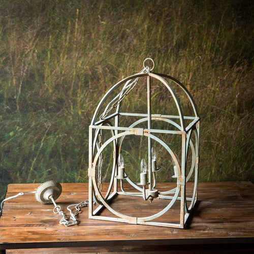Distressed Metal Caged Pendant Light