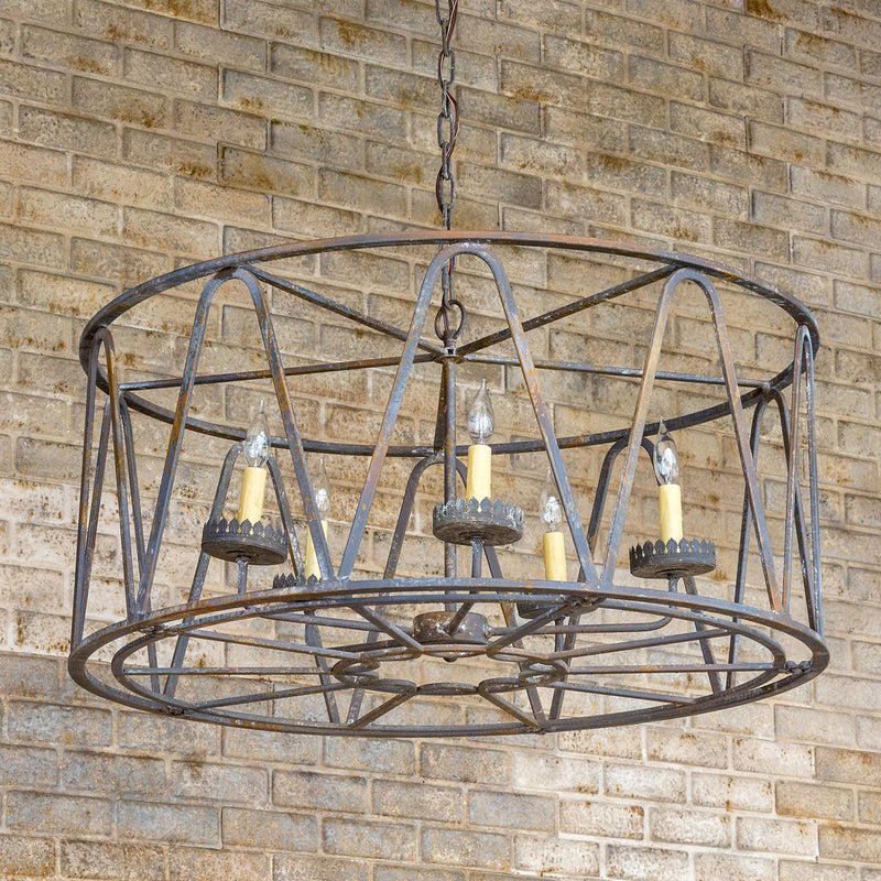 Rustic, Wrought Iron, Distressed Drum Chandelier