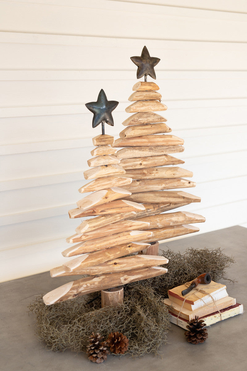 Recycled Wood Trees with Metal Stars, Set of 2