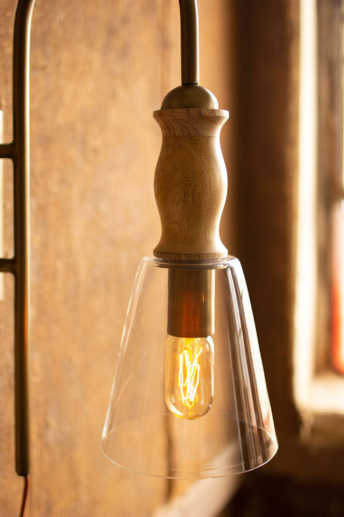 METAL WALL LAMP WITH WOOD AND GLASS SHADE