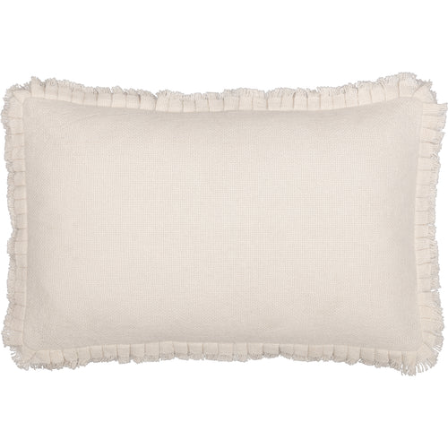 Burlap Antique White Pillow w/ Fringed Ruffle 14x22