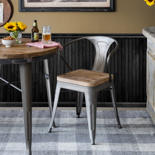 Metal and Wood Bistro Chair