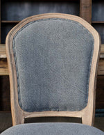 White Washed Oak Dining Chair with Velvet Fabric, Set of 2
