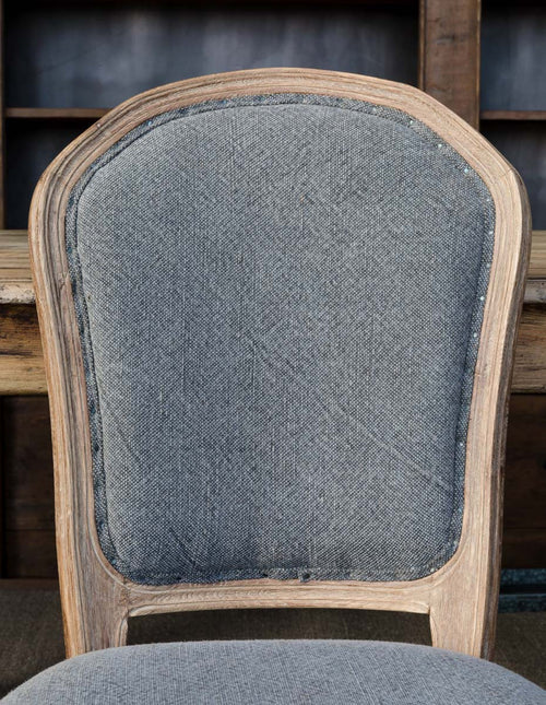 White Washed Oak Dining Chair with Velvet Fabric