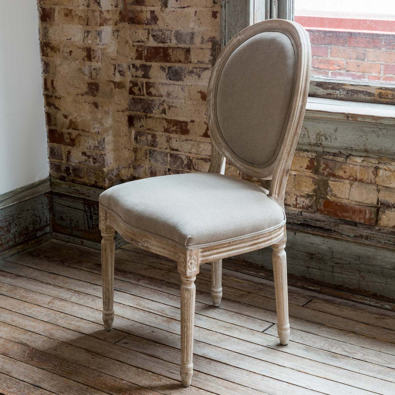 Dining Chair With White Washed Finish