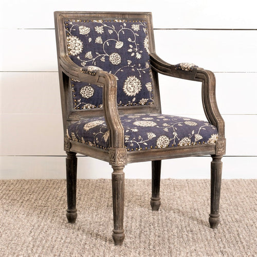 Floral Print And Wood Arm Chair