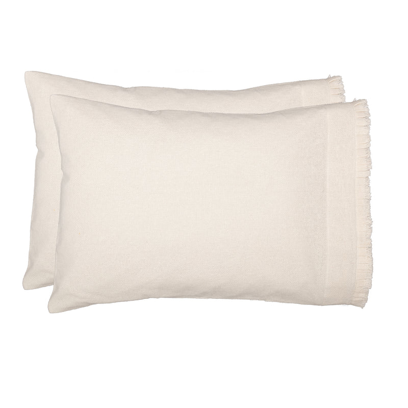 Burlap Antique White Pillow Case w/ Fringed Ruffle Set of 2