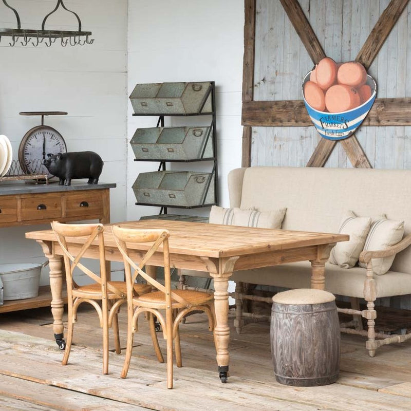 Rustic Wood Table With Wide Top And Castered Legs