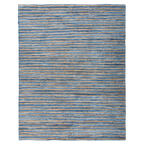 "Hemp and Recycled Denim Striped Rug 7'9"" x 9'9"""