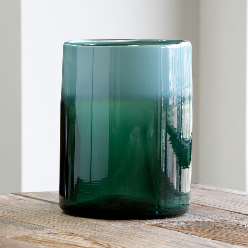 Pond Water Opalescent Glass Cylinder, Large